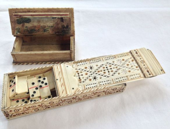 18th Century Prisoner of War Carved Bone Game Box and Snuff Box